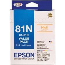 Epson Claria 81N Original Ink Cartridge - Cyan, Magenta, Yellow, Light Cyan, Light Magenta, Black