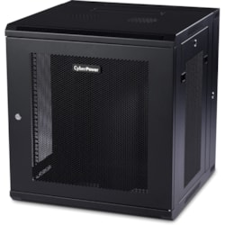 CyberPower Carbon CR12U51001 12U High x 482.60 mm Wide x 462.28 mm Deep Wall Mountable Rack Cabinet for LAN Switch, Patch Panel - Black Powder Coat
