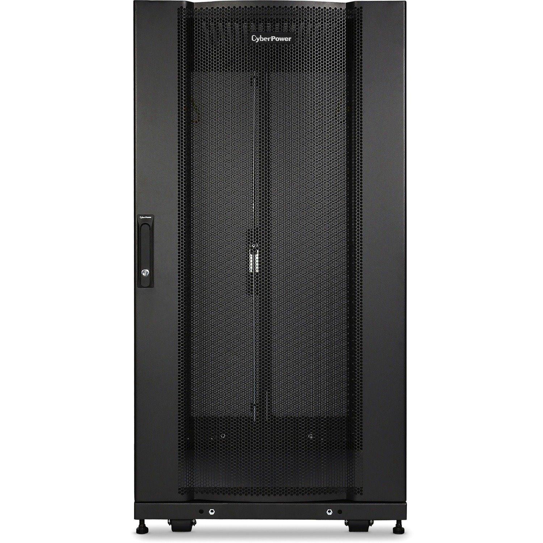 CyberPower Carbon CR24U11001 24U High x 482.60 mm Wide x 904.24 mm Deep Rack Cabinet for Server, LAN Switch, Patch Panel - Black Powder Coat