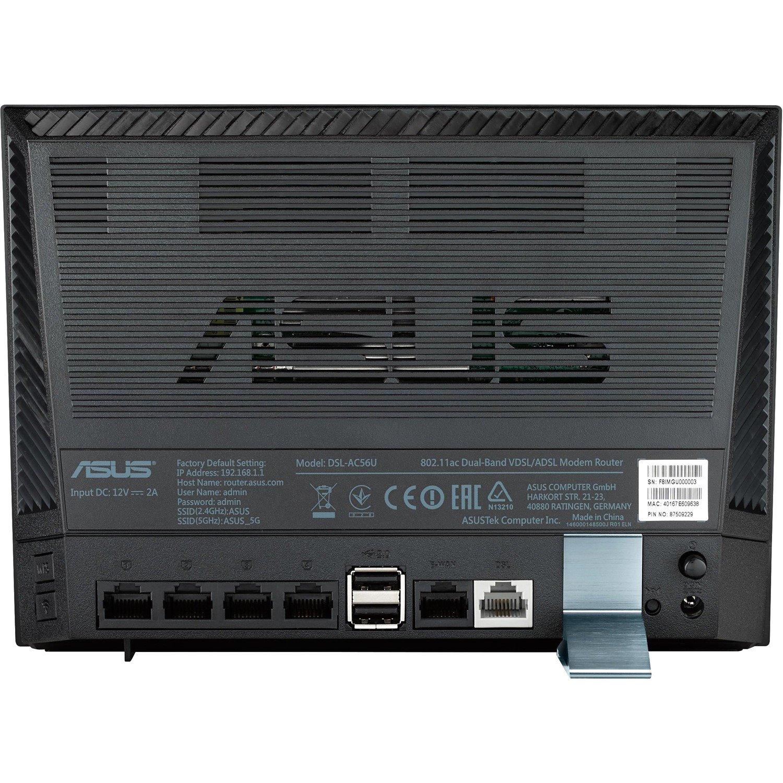 Asus DSL-AC56U IEEE 802.11ac ADSL2+, VDSL2, Ethernet, Cellular Modem/Wireless Router
