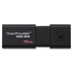 Kingston DataTraveler 100 G3 16 GB USB 3.0 Flash Drive - Black - 1/Pack