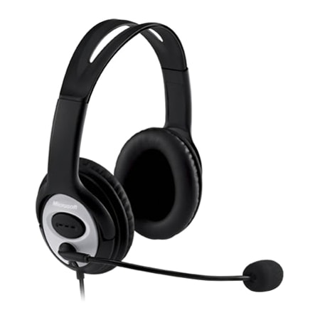 Microsoft LifeChat LX-3000 Wired Over-the-head Stereo Headset - Black/Silver