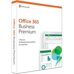 Microsoft Office 365 Business Premium 32/64-bit 1 Year Subscription - Box Pack - 1 User, 5 Phone, 5 Tablet, 5 PC/Mac - 1 Year