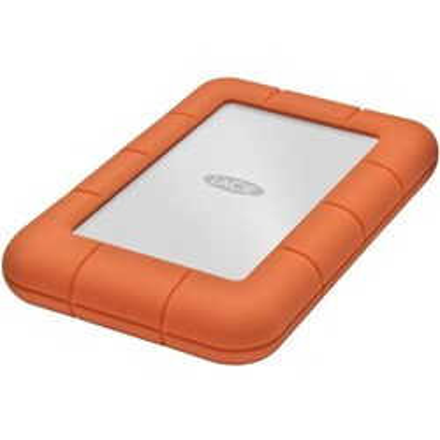 LaCie Rugged Mini 2 TB Portable Hard Drive - External - Orange, Silver