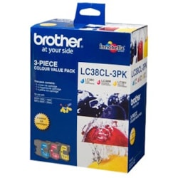 Brother LC38 3Colour Value PK 1 X Cyan, 1X Magenta, 1 Yellow