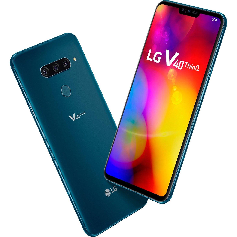 "LG V40 ThinQ LMV405EBW 128 GB Smartphone - 16.3 cm (6.4"") P-OLED QHD+ 3120 x 1440 - 6 GB RAM - Android 8.1 Oreo - 4G - Moroccan Blue"