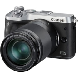 Canon EOS M6 24.2 Megapixel Mirrorless Camera with Lens - 18 mm - 150 mm - Silver