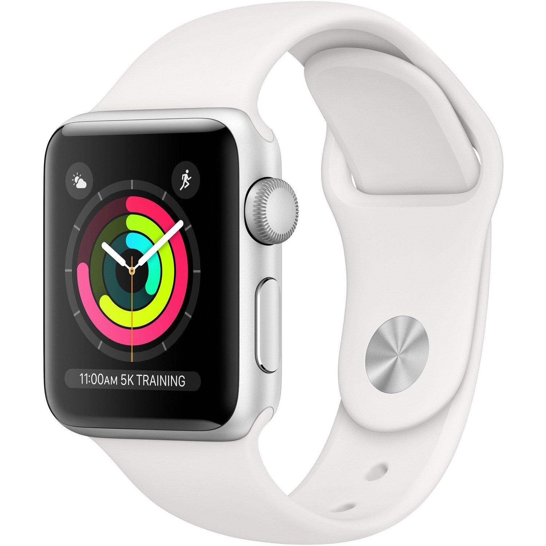 Apple Watch Series 3 Smart Watch - Wrist Wearable - Silver Aluminum Case - White Band - Aluminium Case