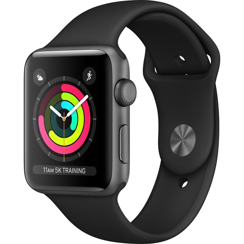 Apple Watch Series 3 Smart Watch - Wrist Wearable - Space Gray Aluminum Case - Black Band - Aluminium Case