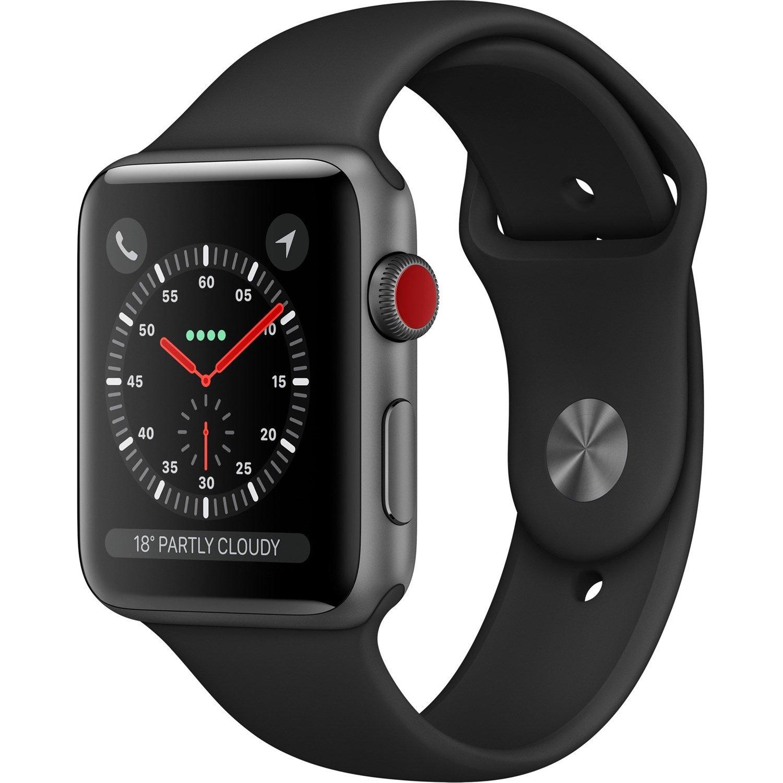 Apple Watch Series 3 Smart Watch - Wrist Wearable - Space Gray Aluminum Case - Black Band - Aluminium Case - Cellular Phone Capability - LTE, UMTS