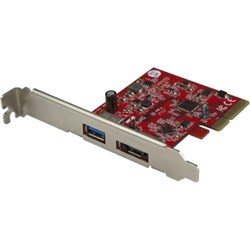 StarTech.com USB/eSATA Combo Adapter - PCI Express x4 - Plug-in Card - Red