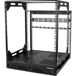 StarTech.com 12U Floor Standing Slide Out Rotating Rail System for Server, LAN Switch, Patch Panel - Black