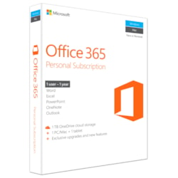 Microsoft Office 365 Personal Subscription + Exclusive Upgrades and New Features - 1 TB OneDrive Cloud Storage, 1 Tablet, 1 PC/Mac, 1 User - 1Year subscription - Medialess - Word 2016, Excel 2016, PowerPoint 2016, OneNote 2016, and Outlook 2016