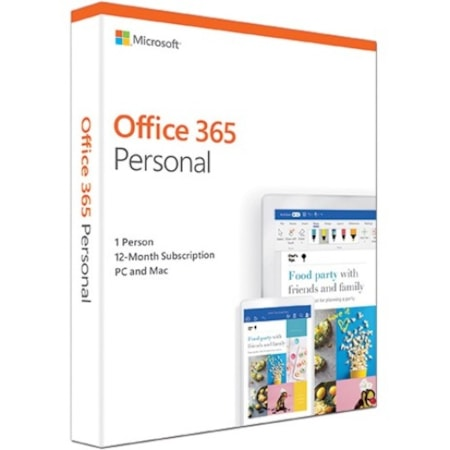 Microsoft Office 365 2019 Personal 32/64-bit for Developed Market With 1 Year Substription - Box Pack - 1 Phone, 1 Tablet, 1 PC/Mac - 1 Year - Non-commercial, Medialess
