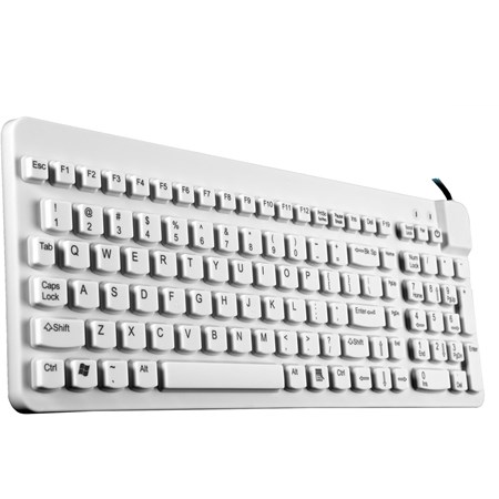 Man & Machine Really Cool LP Industrial Silicon Rubber Keyboard - Cable Connectivity - White