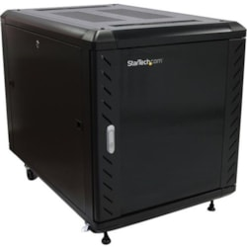 StarTech.com 12U Floor Standing Rack Cabinet for Server, A/V Equipment, KVM Switch, Patch Panel, LAN Switch - 482.60 mm Rack Width x 739.14 mm Rack Depth - Black