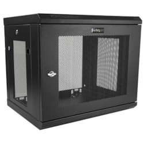 StarTech.com 9U High x 594.36 mm Wide x 429.26 mm Deep Wall Mountable Rack Cabinet for Server, LAN Switch, Patch Panel - Black