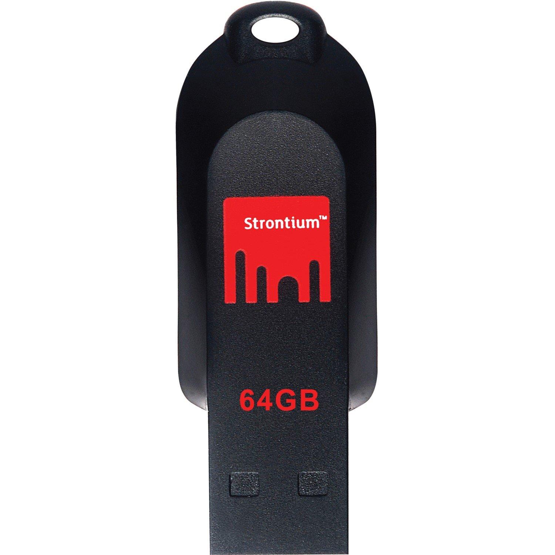 Strontium Pollex 64 GB USB 2.0 Flash Drive - Black, Red