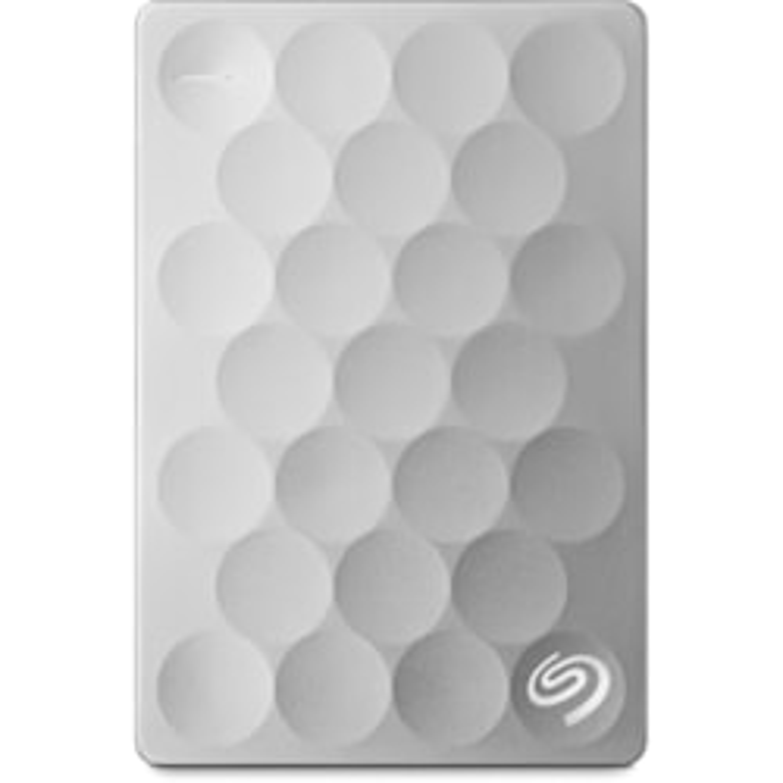 Seagate Backup Plus Ultra Slim STEH1000300 1 TB Portable Hard Drive - External - Platinum