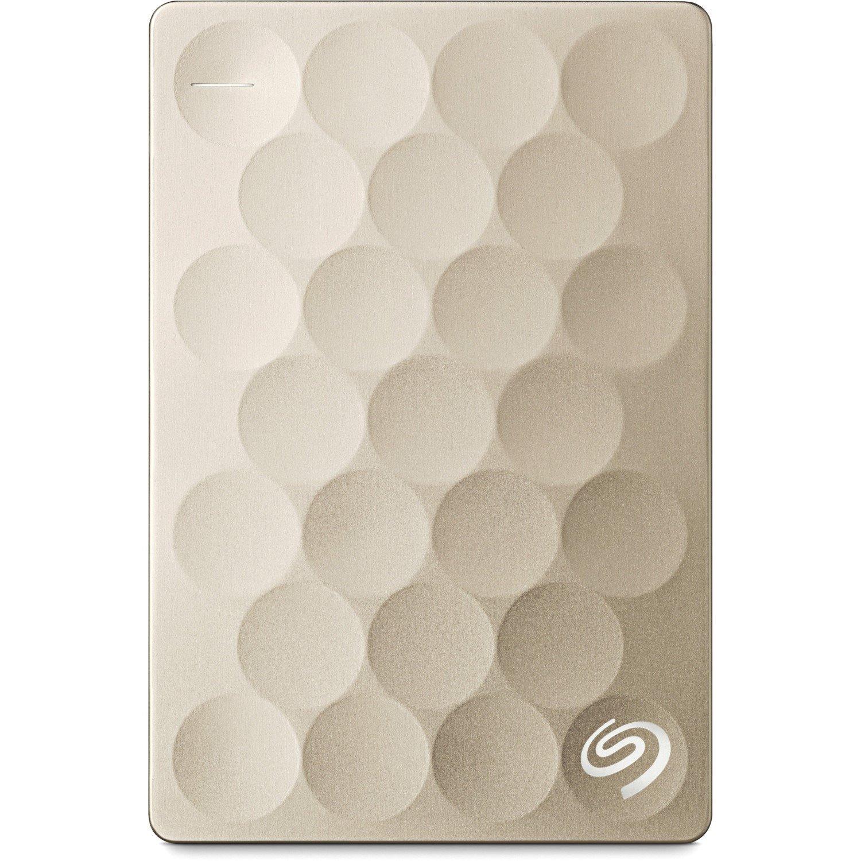 Seagate Backup Plus Ultra Slim STEH1000301 1 TB Portable Hard Drive - External - Gold