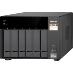 QNAP TS-673 6 x Total Bays SAN/NAS Storage System - 512 MB Flash Memory Capacity - AMD R-Series Quad-core (4 Core) 2.10 GHz - 4 GB RAM - DDR4 SDRAM Tower