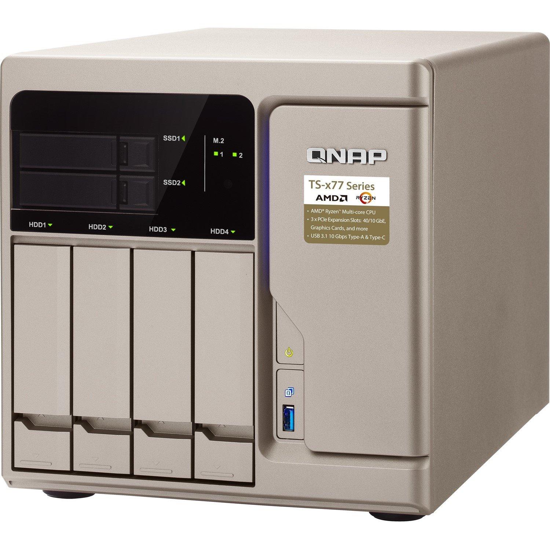 QNAP TS-677 6 x Total Bays SAN/NAS Storage System - 512 MB Flash Memory Capacity - AMD Ryzen 5 Hexa-core (6 Core) 3.20 GHz - 8 GB RAM - DDR4 SDRAM Tower