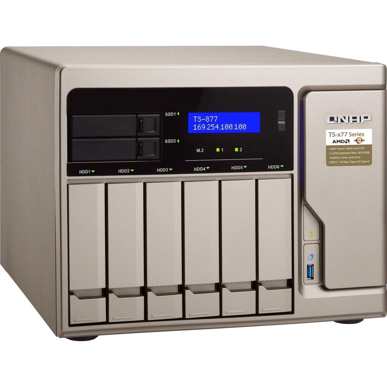 QNAP TS-877 8 x Total Bays SAN/NAS Storage System - 512 MB Flash Memory Capacity - AMD Ryzen 5 Hexa-core (6 Core) 3.20 GHz - 16 GB RAM - DDR4 SDRAM Tower
