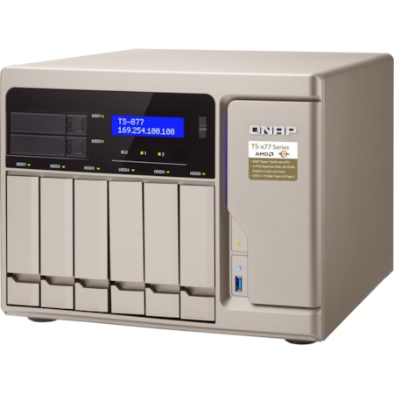 QNAP TS-877 8 x Total Bays SAN/NAS Storage System - 512 MB Flash Memory Capacity - AMD Ryzen 7 Octa-core (8 Core) 3 GHz - 16 GB RAM - DDR4 SDRAM Tower