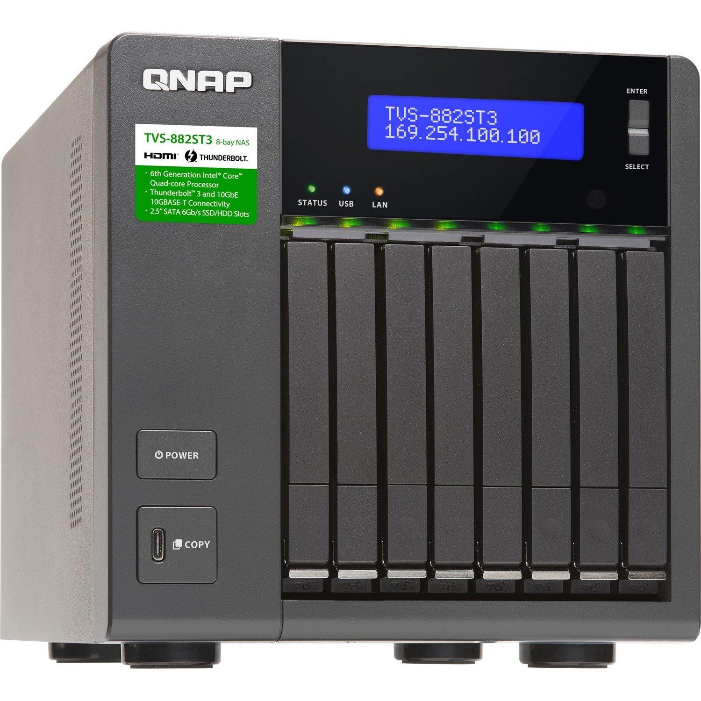 QNAP Turbo vNAS TVS-882ST3 8 x Total Bays SAN/NAS Storage System - Intel Core i7 Quad-core (4 Core) 2.60 GHz - 16 GB RAM - DDR4 SDRAM Desktop