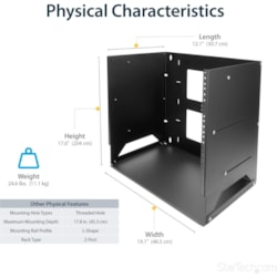 StarTech.com 8U Wall Mountable Rack Cabinet for Server, A/V Equipment, LAN Switch, Patch Panel - 452.12 mm Rack Width x 457.20 mm Rack Depth - Black - TAA Compliant