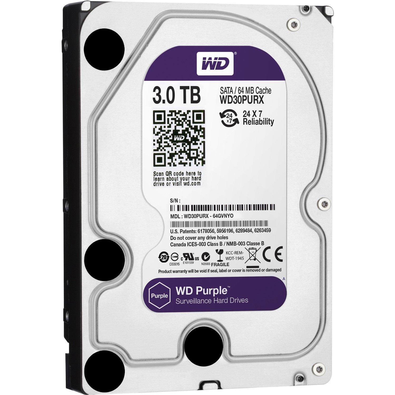 """WD Purple WD30PURX 3 TB Hard Drive - SATA (SATA/600) - 3.5"""" Drive - Internal"""