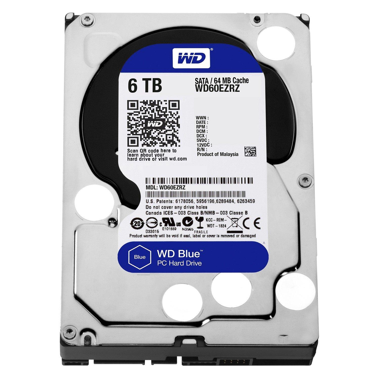 """WD Blue WD60EZRZ 6 TB Hard Drive - 3.5"""" Internal - SATA (SATA/600) - Blue"""