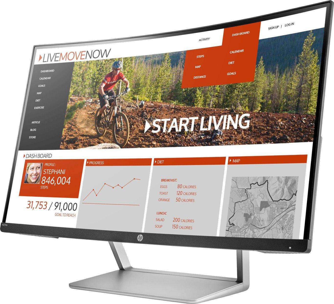 "HP Business N270c 68.6 cm (27"") Full HD Curved Screen LED LCD Monitor - 16:9 - Black, Silver"