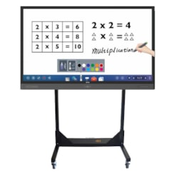 Trolley Dollies Height Adjustable Flat Panel Trolley For TV & Touch Panel Up To 150KG Inc Laptop Shelf