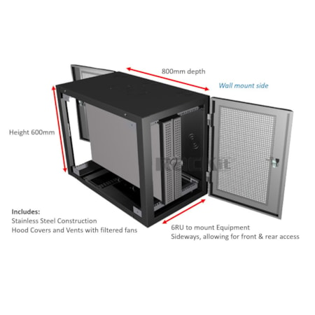 """6RU 19"""" Wall Mount Rack 600W x 800D 316 Stainless Steel with Front and Rear Doors and Fan, Vent & Hoods fitted"""