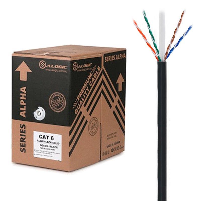 Alogic *Eol*Alogic 305M 23Awg Black PVC Solid Cat6 Network Cable - U-Utp / 4 Pair Alternate Product Is C6utsl305-Bk