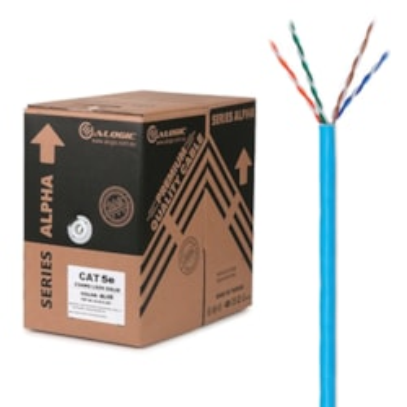 Alogic *Eol* Alogic 305M 24Awg Blue PVC Solid CAT5e Network Cable - U-Utp / 4 Pair