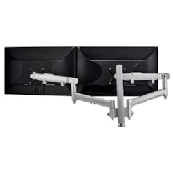 Atdec Awm Dual Monitor Arm Solution - Dynamic Arms - 400MM Post - Grommet Clamp - Silver