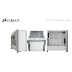 Corsair Carbide Series 4000D Solid Steel Front Atx Tempered Glass White, 2X 120MM Fans Pre-Installed. Usb 3.0 X 2, Audio I/O. Case
