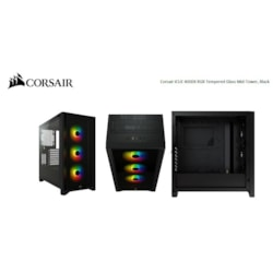 Corsair Carbide Series 4000X RGB E-Atx, Atx, Tempered Glass Front And Side. Black,3X 120MM RGB Fans Pre-Installed. Usb 3.0 And Type-C X 1