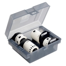 Brother Dk-4Vpa Plastic Storage Box With 4 Starter Rolls (CD/DVD Labels, Address Labels, 62MM Wide Continuous Tape And 24MM Wide Round Labels)