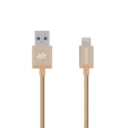 Mbeat® 'Toughlink' Gold 1.2M Metal Braided Mfi Lightning Cable