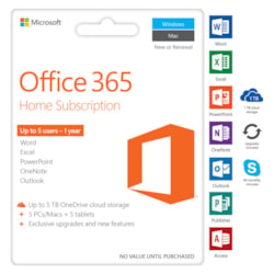Microsoft Office 365 Home 5 User ESD Licence - 1 Year Subscription