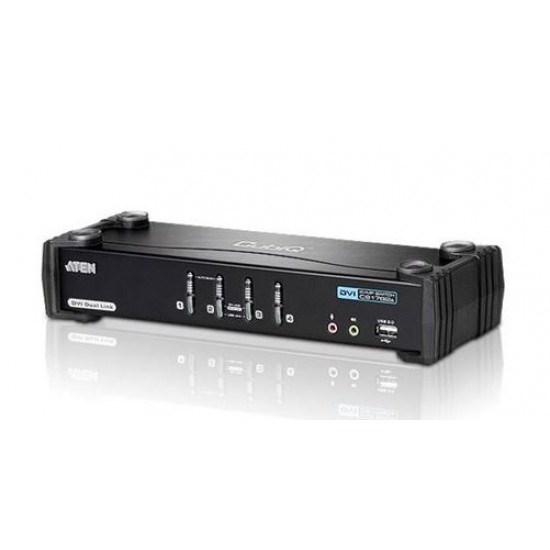 Aten 4 Port Usb Dvi Dual Link KVMP Switch. Support HDCP, Video DynaSync, Dual Link, 2.1 Audio, Mouse Emulation, Keyboard Emulation