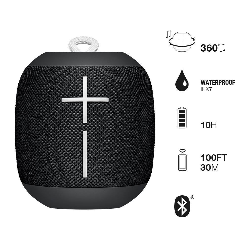 Logitech Ultimate Ears Ue WonderBoom Super Portable Wireless Bluetooth  Speaker Phantom Black Waterproof Ipx7 10-Hrs Battery Life 360° Sound 33M  Range
