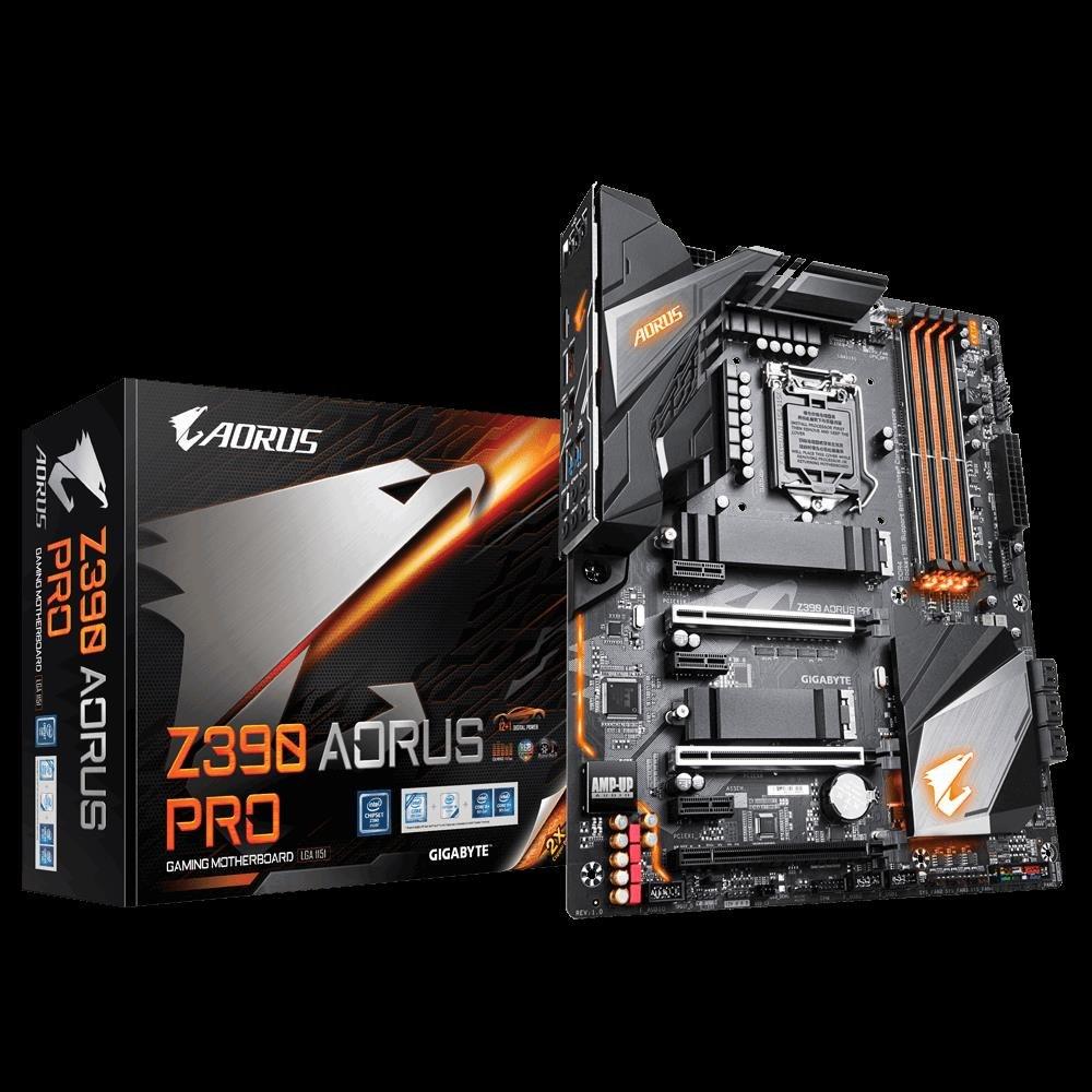 Gigabyte Z390 Aorus Pro Lga1151 9Gen Atx MB 4xDDR4 6xPCIe Hdmi 2xM.2 6xSATA Raid Intel GbE Lan Sli CF 2xUSB-C 7xUSB3.1 BT WiFi RGB