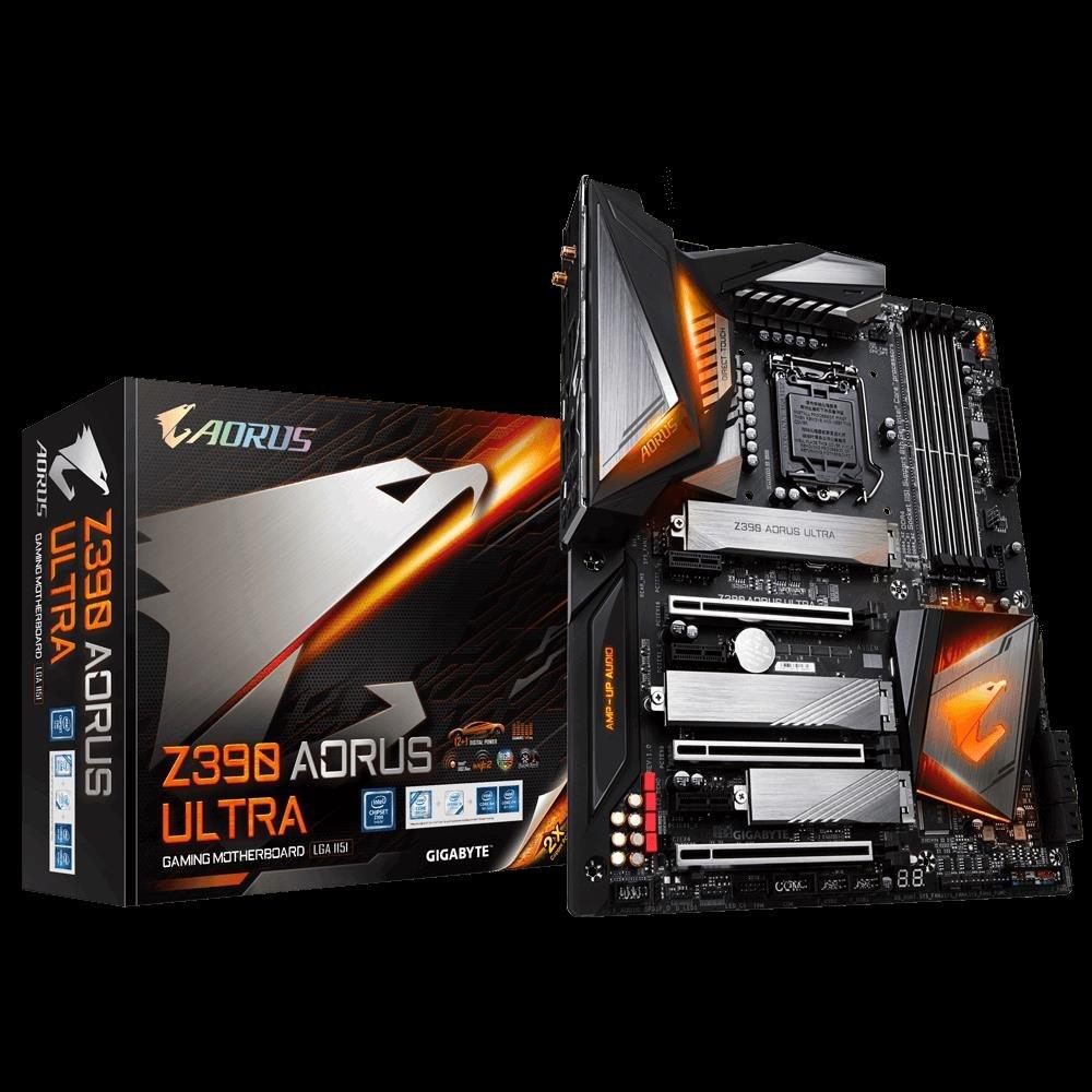Gigabyte Z390 Aorus Ultra Lga1151 9Gen Atx MB 4xDDR4 6xPCIe Hdmi 3xM.2 6xSATA Raid Intel GbE Lan Sli CF 2xUSB-C 7xUSB3.1 BT WiFi RGB