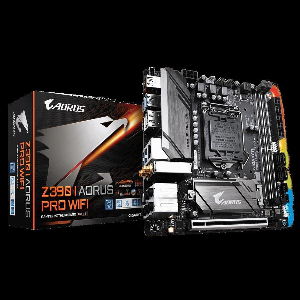 Gigabyte Z390 I Aorus Pro Wifi Lga1151 9Gen Mitx MB 2xDDR4 1xPCIe Hdmi DP 2xM.2 4xSATA Raid Intel GbE Lan 2xUSB-C 7xUSB3.1 BT WiFi RGB
