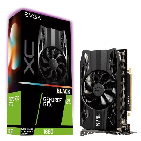 Evga Geforce GTX1660 Black XC Gaming Graphics Card, 6GB GDDR5, Pcie, Full Height, HDB Fan, DP, Hdmi, Dvi-D, Max 3 Outputs