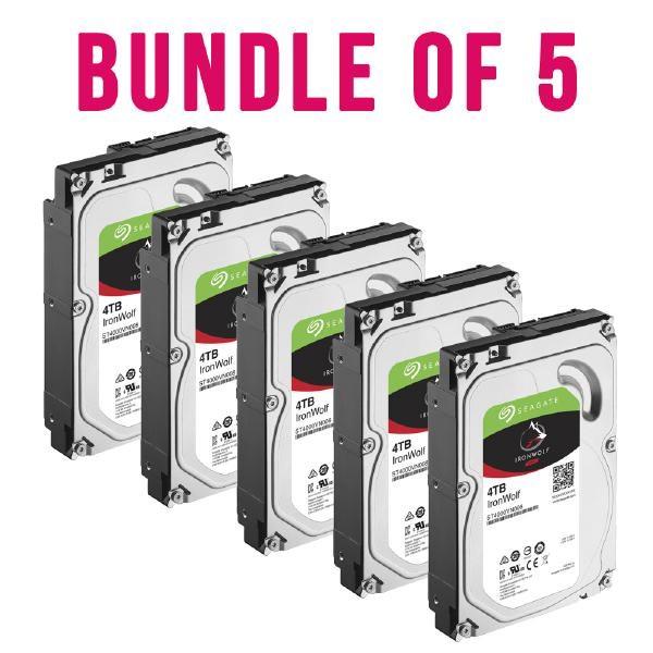 "Seagate Bundle 5 X Seagate IronWolf Nas HDD 3.5"" Internal Sata 4TB Nas HDD, 5900 RPM, RV Sensors, 3 Year Warranty"